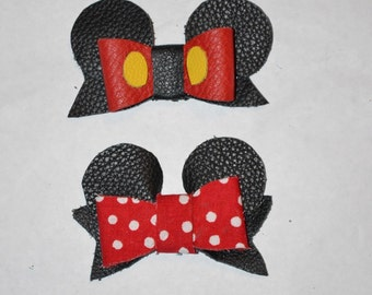 Mickey and Minnie Mouse Leather bow