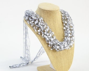 Crochetlaces Adjustable SOFT Lightweight Crochet Yarn Necklace Scarf, Accessory, Unique Gift - Moonstone, wider ribbon