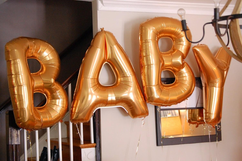 Baby balloons gold foil mylar letter wedding balloons for Gold letter balloons