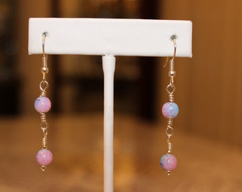 Pink and Blue Beaded Earrings (Item #0084E)