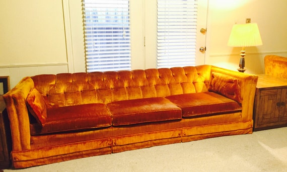 Reserved Beautiful Vintage Tufted Orange Velvet Couch An