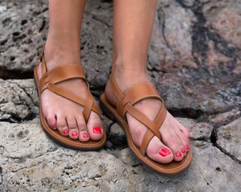 FREE SHIPPING _Genuine Greek Leather Sandal : Atalante (Natural)