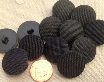 """Lot of 12 Black Criss Cross Front Plastic Shank Buttons 7/8"""" 23mm # 7185"""
