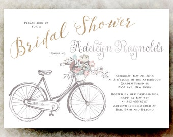 Bicycle bridal shower invitation bicycle bridal shower bicycle watercolor bridal shower invitation floral bicycle bridal shower invitation printable wedding invitation filmwisefo Choice Image