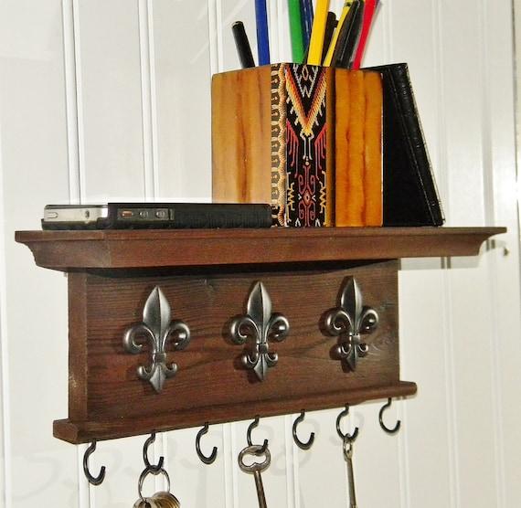 key holder wall shelf 12 wood rustic handmade wall. Black Bedroom Furniture Sets. Home Design Ideas