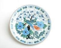 Japanese porcelain plate flowers, vintage japanese peacock plate, decor dish, japanese pottery