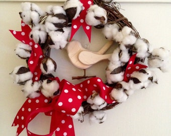 Janine: Cotton Blossom Wreath with Sparrow