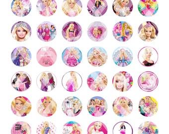 Printed Full Sheet Barbie Bottle Cap Images...48 Images...You Choose UNCUT or PRE-CUT