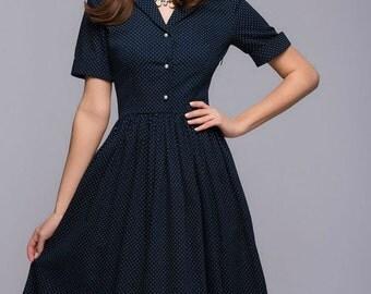 Retro Polka Dot Dress. Knee Length Dress.Flared Skirt Dress Mod