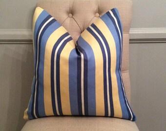 Handmade Decorative Pillow Cover - Robert Allen Oceanside Stripe - Navy - Yellow - Stripe - Traditional - Preppy - Indoor Outdoor