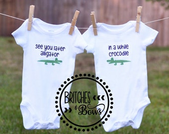 See You Later Alligator Twin Onesie Set