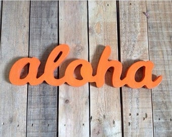 Aloha sign,Bring ALOHA to your house!!  wooden sign, home decor, word art, handwritten,cursive, typography, wood sign, ALOHA, hawaiian
