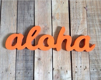 Bring ALOHA to your house!! ALOHA wooden sign, home decor, word art, handwritten,cursive, typography, woodworking, wood sign, ALOHA