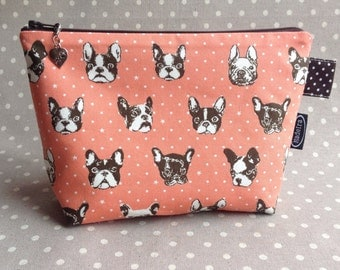 Salmon pink French bulldog zipper bag cute Frenchie make up bag kawaii zippered pouch gift for dog lover animal cosmetic case project bag