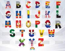 Superhero alphabet - alphabet clipart - letter superhero - boy  invitation