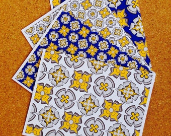 Notecard set modern yellow blue - CHLOE