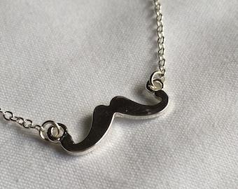 Silver Moustache / Mustache Necklace