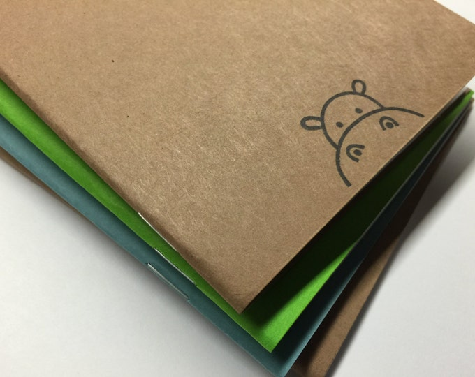 Cute Hippo Notebook - journal, diary, hand stamped, party favors, baby shower, kids, peeking, custom printing included