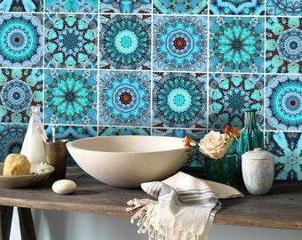 Wall Tile Decals Vinyl Sticker WATERPROOF Tile or Wallpaper for Kitchen Bath: ART001