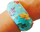 Fitbit Bracelet for FitBit Charge or Charge HR - The RUMIKO Blue Leaves and Rhinestone Hinge Bangle Fitbit Bracelet - FREE U.S. Shipping