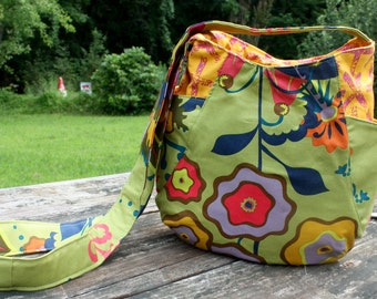 Floral 241 Tote Cross Body Hobo Bag Green