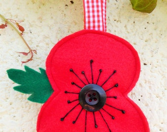 SALE Padded Poppy Hanging Decoration in Support of The Royal British Legion