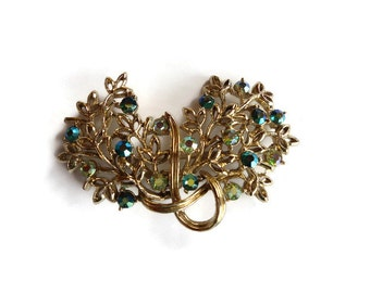 rhinestone brooches for wedding bouquets, aurora borealis pin for brooch bouquet, vintage green flower brooch, 1950s jewellery for women
