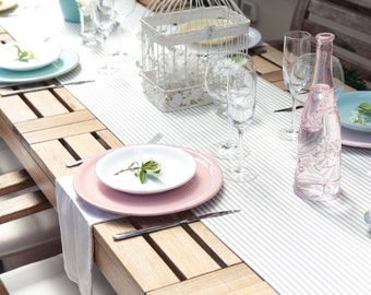Elegant V end striped cotton table runner, a special dress for your table.