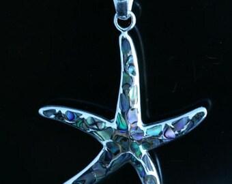 Starfish, abalone, pendant 925 sterling silver
