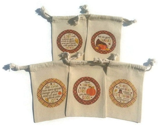 Thanksgiving set of muslin gift bags fall harvest goody