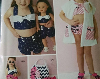 Simplicity S0616 child and doll swim suit pattern