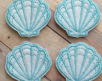4 white and aqua sparkle sea shell felties multiple sizes available