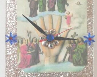 Handmade Acrylic Hand Of God Clock, Religious Clock, Functional Art, Religious Decor, Made By Mod.