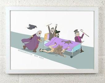FRAMED Great Knaresborough Bed Race Cartoon
