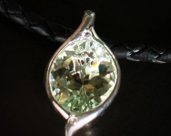 SALE! Sterling Silver 925 Genuine Marquise Shaped Green Quartz & White Sapphire Necklace, Ornate Antique Artisan Style Pendant Necklace