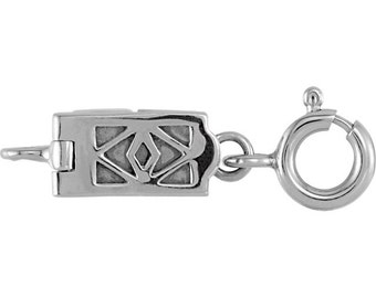 Sterling Silver Demika™ Filigree Magnetic Clasp with Spring Ring, Jewelry Making, Ring included with Clasp