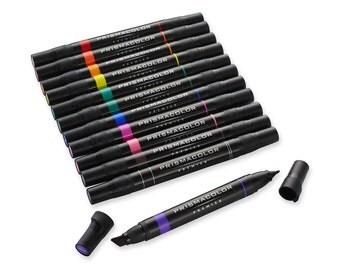 12 Prismacolor Markers; Professional Art Double-Ended Markers, Primary and Secondary Colors; Prismacolor Art Markers