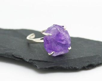 Rough Amethyst ring/ Rough gemstone with sterling silver Ring / Raw Amethyst ring / Adjustable Ring