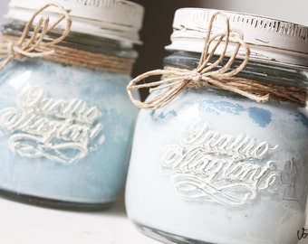 Pair vintage shabby chic makeover Jars jars of preserves hand decorated