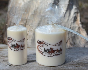 Scented Palm Wax Candle with Horses, The Perfect Gift!