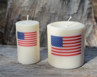 Scented Palm Wax Candle with the US Flag