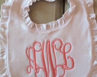 Baby Girls Monogrammed Ruffle Bib, Monogrammed Bib