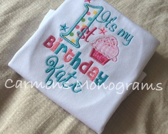 Personalized Girls First Birthday Applique with Appliquéd Cupcake on Tshirt or Bodysuit