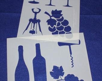 """2 Piece Wine Set  8"""" x 10"""" - Stencil-  14 Mil Mylar"""