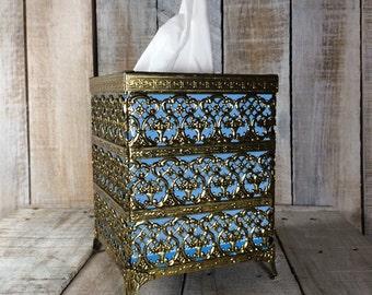 Tissue Box - Tissue Cover Box - Kleenex Tissue Holder Box - Bathroom Tissue Box Cover - Gold Bathroom Decor - Filigree
