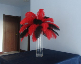 100pcs Red & Black Ostrich Feather Plume for Wedding centerpieces