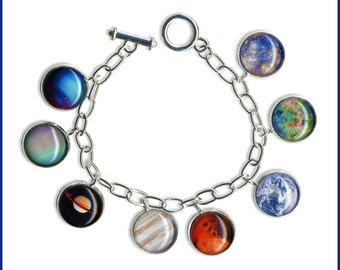 Planets Charm Bangle presented in a long black gift box with high res. photo card