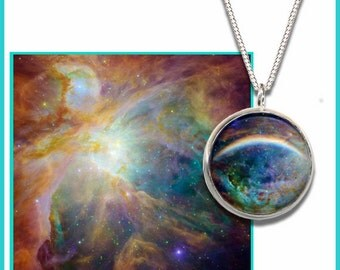 Orion Nebula Pendant on a sterling silver chain