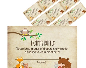 Woodland Diaper Raffle Ticket - Printable : Instant Download _43