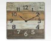 Rustic Wood Clocks for Rustic Wall Decor in Orange Gold White Brown - Largo
